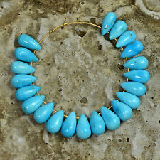 Old Stock Sleeping Beauty Turquoise Smooth Teardrop Beads (21)
