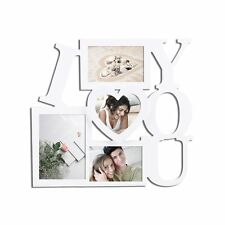 "Adeco 4-Opening White Wood ""I Love You"" Wall Collage Photo Picture Frames"