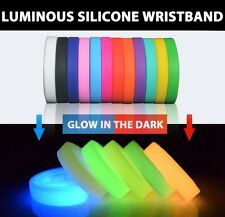 Adult 12PCS GLOW IN THE DARK Luminous Rubber Silicone Wristband Bracelet Mixture