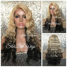 Blonde Brown Ombre Body Wave Wavy Lace Front Wig Layers Side Part Heat Safe Ok