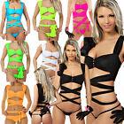 Sexy Wickelshirt mit Strass Bandeau Top Bauchfrei Beach Party  Bindeshirt Neon