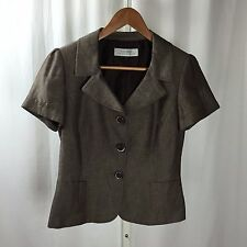 Tahari Brown Gold Short Sleeve 3 Button Blazer Jacket Size 4
