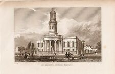 St. Philips Church Salford - Antique Book Plate Engraving