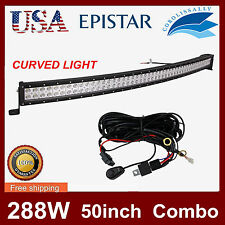 "50"" 288W CURVED Flood Spot LED Work Light Bar Fog Driving DRL SUV 4WD+Wiring Kit"