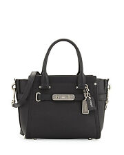 NWT   COACH SWAGGER 21  IN PEBBLE LEATHER  BLACK SILVER $350