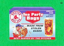 2016 TOPPS WACKY PACKAGES MLB - BOSTON RED SOX TEA PARTY BAGS - GREEN GRASS!!!