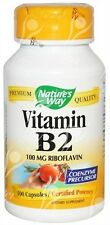 Natures Way, Vitamin B-2 Riboflavin, 100mg, x100caps
