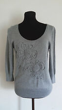 Calson Sweaters Gray Size M Crew Neck 3/4 Sleeve Flower Pattern