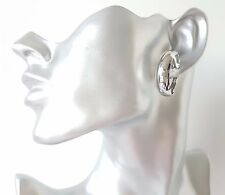 Gorgeous shiny SILVER tone small wide CLIP ON hoop earrings - 3cm ** CLIP ON'S