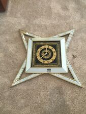 Vintage Mid Century Modern Mirror Atomic Starburst Wall Clock with Key Turner