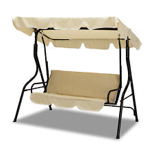 Beige 3 Seats Outdoor Patio Swing Canopy Steel Hammock Yard Furniture