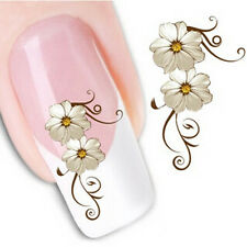 Nail Art Sticker Water Decals Transfer Stickers Cream Flowers Floral (DX1013)
