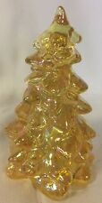 Christmas Holiday Tree - Honey Carnival Glass - Mosser USA - Medium 5 1/2""