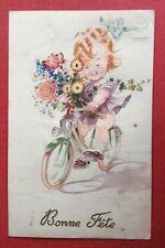 CPSM. Illustrateur MAUZAN. 1948. Petite Fille. Bicyclette. Fleurs.