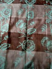 new brown stripes Teal Blue Flowers VERTICAL~HORIZONTAL Fabric~SHOWER CURTAIN