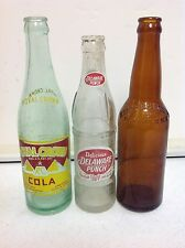 3 VTG Bottles 1936 RC Cola New Orleans Delaware Punch Kings Brewery Brooklyn NY