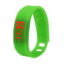 Digital LED Watch Men Sport Watch Women Bracelet Wrist Watch Silicone Band Green