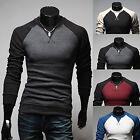 Herren Rundhals Pullover Strick Sweatshirt Slim Fit Langarm Sweater Pulli Bluse