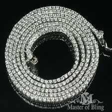 MENS SOLID REAL SILVER ONE ROW SOLITAIRE LAB DIAMOND NECKLACE TENNIS CHAIN ICED