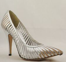 GUCCI Silver Strappy Leather High Heel Pointed Toe sz 8.5