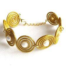 Pulsera De Oro Hierba azucarados espirales Capim Twist con perlas de tamaño ajustable