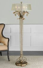 "LARGE 65"" BURNISHED GOLD METAL FLOOR LAMP GOLD TEAL CRYSTAL LEAF HARDBACK SHADE"