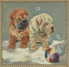 "20"" DECORATIVE TAPESTRY PILLOW COVER Sharpei Dogs EUROPEAN ANIMAL CUSHION ACCENT"