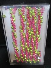 6' Pink Lime Green Bead Garland Mini Trim Christmas Tree Wedding Table Decor