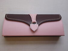 Stunning Pink/Chocolate Heart Tag Glasses Case - NEW