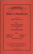 Vincent Riders Handbook of Series B C 998 Black Shadow Rapide Comet New