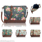 Ladies Girls Floral Canvas Shoulder Cross Body Bag Messenger School Bag Purse