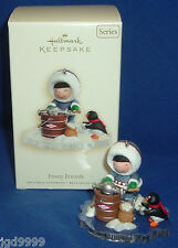 Hallmark Ornament Frosty Friends #28 2007 Eskimo and Penguin Ice Cream Maker NIB