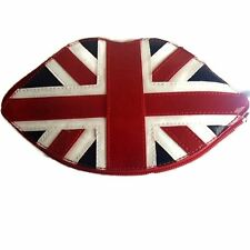 LULU GUINNESS Clutch Bag Foldable Tote Lips Design Union Jack NEW