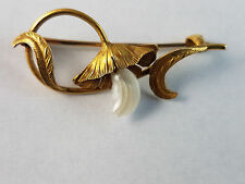 14K Art Nouveau Flower Pin/Brooch with Mississippi Pearl