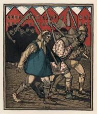 AUFSTÄNDISCHE BAUERN - Rudolf SCHIESTL  Zinkätzung  Jugendstil um 1910