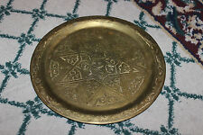 Vintage Arabic Middle Eastern Brass Serving Tray W/Pentagram Star Center-Marked