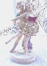 Antique Vintage Pair of Dancing Ballerinas Porcelain Statue Marked 2 Cross Sworn