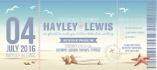 50 Personalised Beach Shell Boarding Pass Plane Wedding Invitations Tickets!