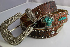 WOMENS WESTERN EMBOSSED  LEATHER BLING BELT SIZE S  FAUX TURQUOISE CROSS DESIGN
