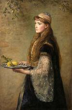 Oil painting John Everett Millais - Beautiful Young girl holding fruit Lemon