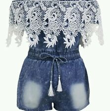 Crochet Lace Trim Off Shoulder Denim romper playsuit club summer wear size 10-12