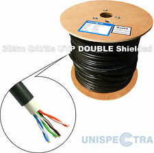 305m CAT5e UTP DOUBLE SHIELDED OUTDOOR Network LAN Cable BLACK - SOLID COPPER
