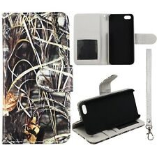 Sawgrass Camo  inside Gray  Wallet Leather Flip Apple Iphone 5 5S  Case Cover