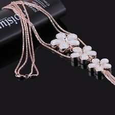 Women Girl Crystal Statement Bib Necklace Sweater Chain Flower Pendant Jewelry