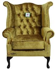 Chesterfield Armchair Queen Anne High Back Wing Chair Boutique Gold Velvet Brass
