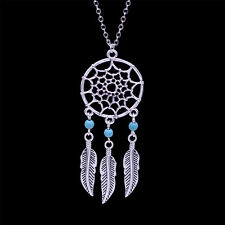 Antique silver coloured dream catcher style web and leaf chandelier necklace