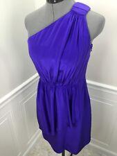 SHOSHANNA  100% Silk One-Shoulder Celina Dress Royal Purple size 2  EXCELLENT