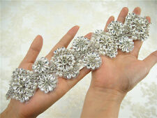 Gorgeous Diamante Bridal Applique Trim Beaded Motif Rhinestone Wedding Applique