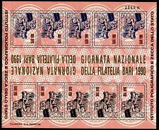 FOGLIETTO IPZS BARI 1990 GIORNATA NAZIONALE FILATELIA SCRITTA ORO NUMERATO