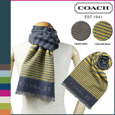 NWT Coach 95% Wool 5% Cashmere Bariegated Stripe Woven Scarf 85135 Yellow/Blue